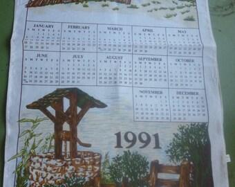 1991 Log Cabin Tea Towel Calendar