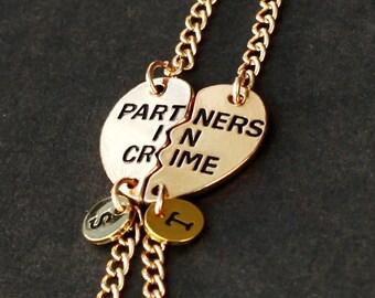 initials bracelet,  PARTNERS IN CRIME bracelet, sister friendship bracelet, best friends, best bitches, broken heart set, sisters jewelry