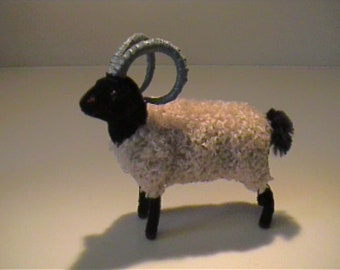 Vintage large Wagner flocked or fuzzy black and white sheep ram