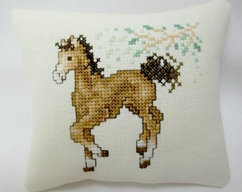 Horse, Pony,  Cross Stitch Mini Pillow,  Animal Pillow, Gift For Horse Lover