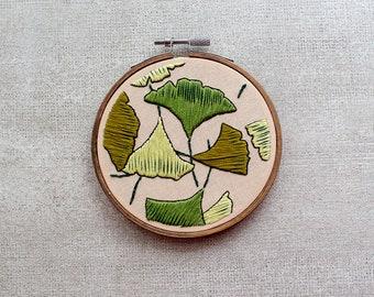 Ginkgo Leaves Embroidery Hoop