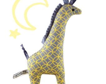 Giraffe Baby Rattle - Yellow & Grey