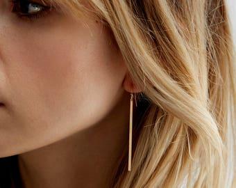 Simple Earring Gift - 14k Gold Fill - Sterling Silver, Rose Gold Fill, Simple Bar Drop Earrings -  Long Dangle Line Earrings - LE120_vn