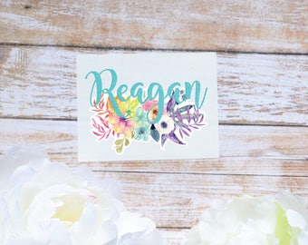 Rainbow Floral Monogram Decal, Flower Decal, Watercolor Flowers, Flower decal, Tumbler Decal, Watercolor Peonies, Printed Decal