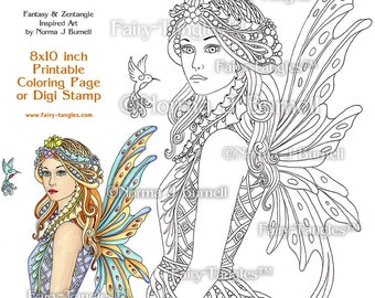 Acacia Fairy Queen Printable Coloring book Sheets and Pages by Norma J Burnell Fairies to color Adult coloring Digital Coloring files