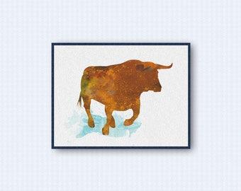 Bull Watercolor Poster