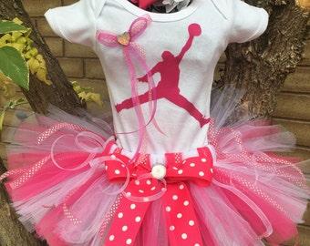 Michael Jordan inspired Tutu Outfit Set Original Newborn Girls 0 3 6 9 12 18 Months 2T-7T adult available jumping man Costume