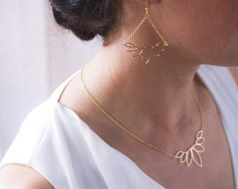 Necklace leaf, chain stitch, high plating quality