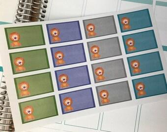 16 Half Box Planner Stickers, Fits Erin Condren Planner, Stickers, Lions