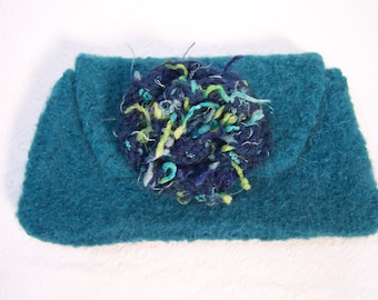 Teal Green Fabric Lined Wool Felt Clutch, Felted Wool Handbag, Felted Wool Purse, Small Knit Bag, Knit Felted Wool Bag,  Knit Clutch Bag