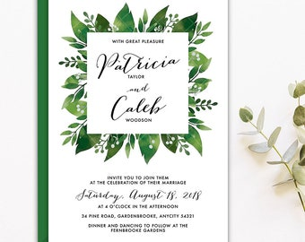 Wedding Invitation, Greenery Leaf Nature Wedding Invite, Simple Green Leaves Wreath Printable Wedding Invitation