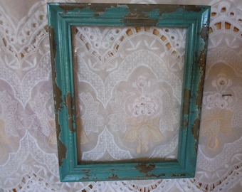 19 - Frame -  Chippy Paint - Teal-Distressed