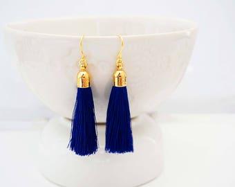 Blue and Gold Tassel Earrings