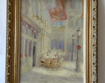 Vintage impressionistic oil painting of Palace De Grand Armee Paris