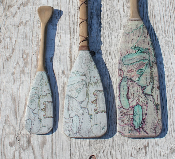 Great Lakes Map Wooden Oar | Handmade Decor Ideas For Decorating A Beach House