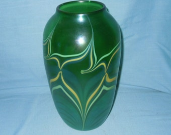 Huge Orient & Flume Pulled Feather Vase