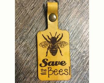 Honey Bee Leather Key Fob, Save the Bees, Key Chain Honey Bee, Beekeeping Key Chain, Cool Gift, Beekeeper Gift