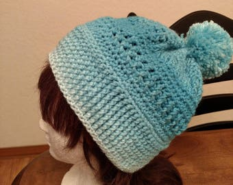 Crocheted Hat with pom pom. Christmas