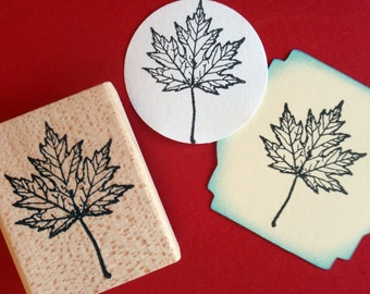 Maple Leaf Rubber Stamp - Handmade by BlossomStamps