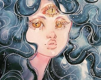 3 Eyed Spirit Girl with galaxy hair - 5x7'in / 13x18cm Print
