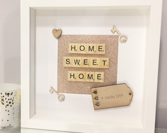 ROSE GOLD glitter sparkle home sweet home house warming new home gift shabby chic personalised handmade family scrabble frame