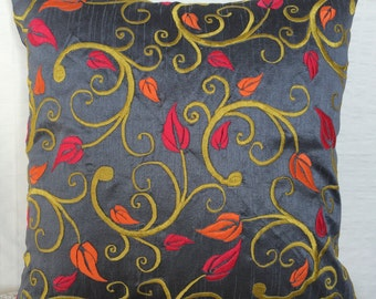 Grey Floral Pillow Cover Dark Grey Throw Pillow Grey Accent Pillow Grey Couch Pillow Sizes 14x14 16x16 18x18 20x20 22x22