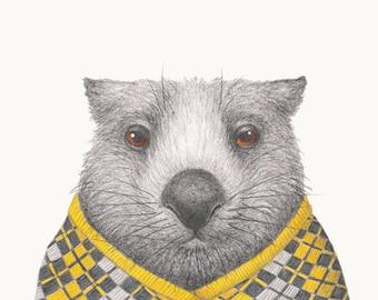 Winter Woollies Wombat A4 Print