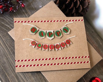 Handmade Christmas Card, Happy Holidays, Brown Craft Paper, Unique, One of a Kind, Blank Inside, Free US Shipping