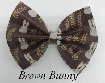 Brown Bunny- Faux Leather Bow