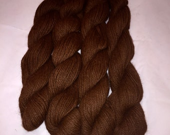 100% Alpaca Luxury Yarn, Super-Soft, Brown Color, Worsted Weight, approx 150 yards