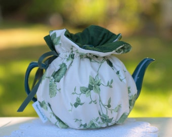 Teapot Cozy Green Leaves Ready Made