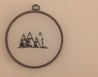 Camp Night Hand Embroidered Wall Hanging