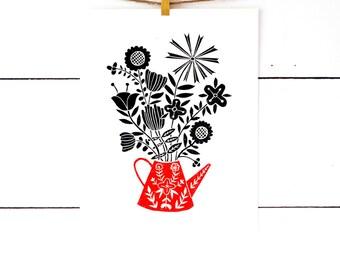 Floral Print, Floral Art, Flower Art Print, Flower Wall Art, Scandinavian Folk Art, Nursery Wall Art, Nursery Decor, Cabin Art, Cabin Decor