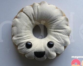 vanilla frosted donut, large felt plush