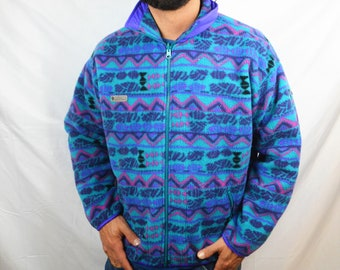 Vintage 80s Columbia Geometric Southwest Print Fleece Zip Up Jacket