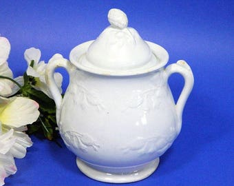 Antique J & G Meakin Large White Ironstone Sugar Bowl