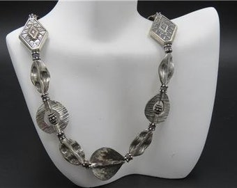 Fine 925 Sterling Silver Bali Bead Hammered Disc Ornate Heavy Necklace 56g