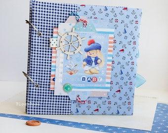 Baby Memory Book Boy, Personalized Baby Book Boy, Baby Album, First Year Book, Newborn Gift, Baby Shower Gift, Baby Scrapbook, Baby Book Boy