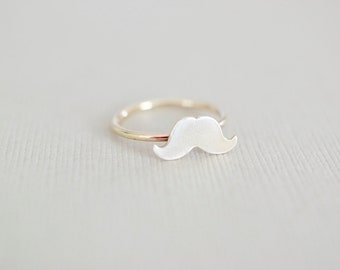 Mustache Ring - Sterling Stacking Ring - Geekery Hipster Jewelry