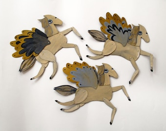 Ginger Special / Winged Grey and Gold Horse Articulated Decoration  / Hinged Beasts Series