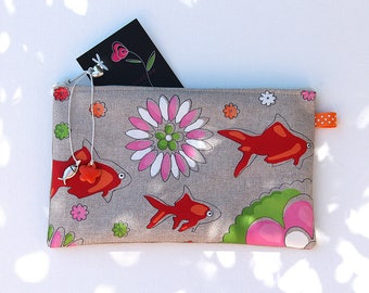 Pencil case in linen with illustration original goldfish