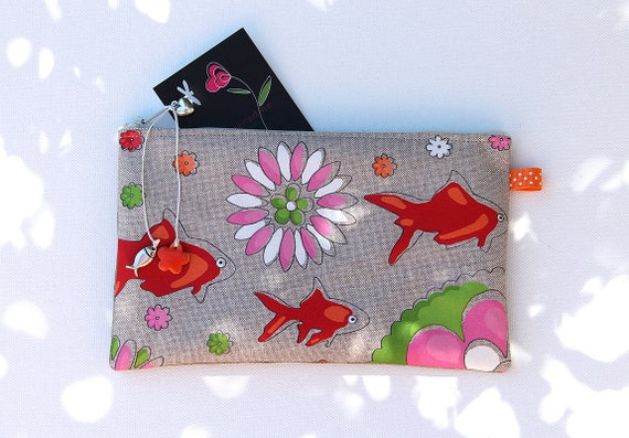 Pencil case in linen with illustration original goldfish