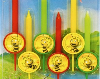 Set of 6 Candles of Figures The Bee maya Party Supplies Cake topper for the Birthday Holiday