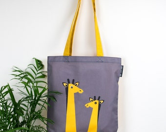 Giraffe Tote Bag, Animal Canvas Tote Bag, Giraffe Gift, Kids Book Bag, Giraffe School Bag, Tropical Jungle Bag, Scandinavian Shopping Bag