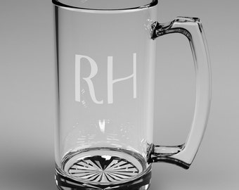 12 Personalized Beer Mugs with Custom Engraved Mononogram