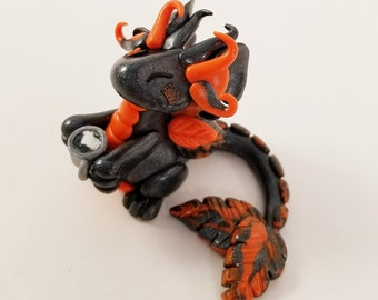 Orange and Grey Dragon - Gray Dragon Hatchling - Baby Dragon - Custom Dragon