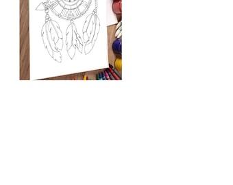 Printable digital download, Native American mandala, Adult coloring page