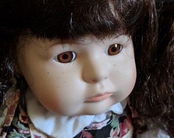 Floral Wear Vintage Porcelain Doll