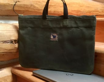 Waxed canvas briefcase, oversize laptop carrier