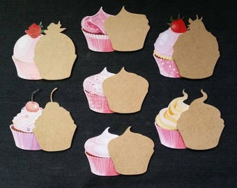 Set of seven different designs cupcake